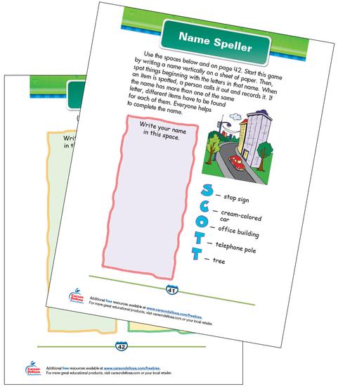 Name Speller Free Printable Sample Image