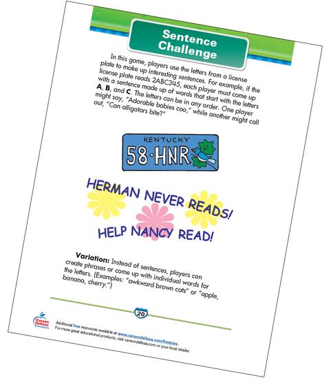 Sentence Challenge Free Printable Sample Image