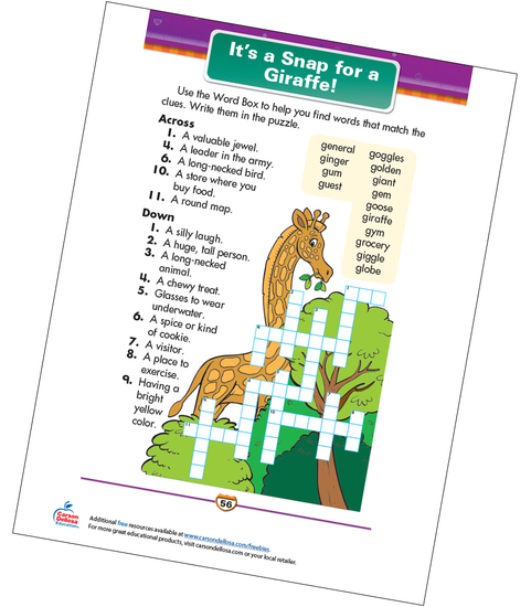 It's a Snap for a Giraffe! Free Printable Sample Image