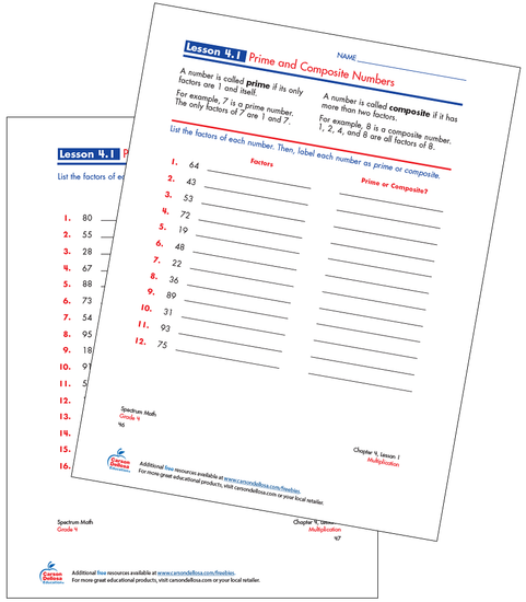 Prime and Composite Numbers Free Printable Sample Image