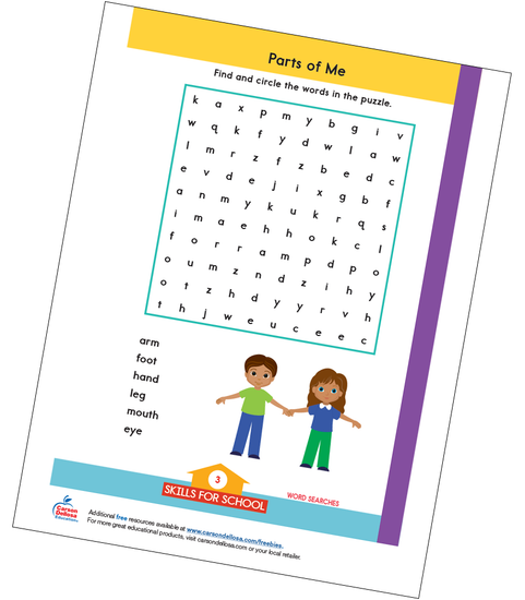 Parts of Me Word Search Free Printable Sample Image