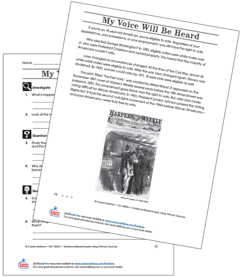 My Voice Will Be Heard Through Voting Grade 3 (Above Grade Level) Free Printable Worksheet