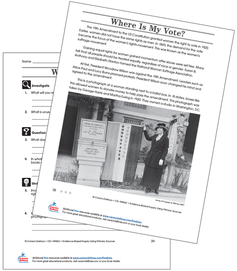 Where Is My Vote Grade 4 (Above Grade Level) Free Printable Worksheet