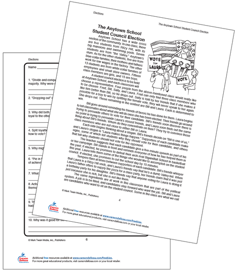 The Anytown School Student Council Election Grades 5-8 Free Printable Activity