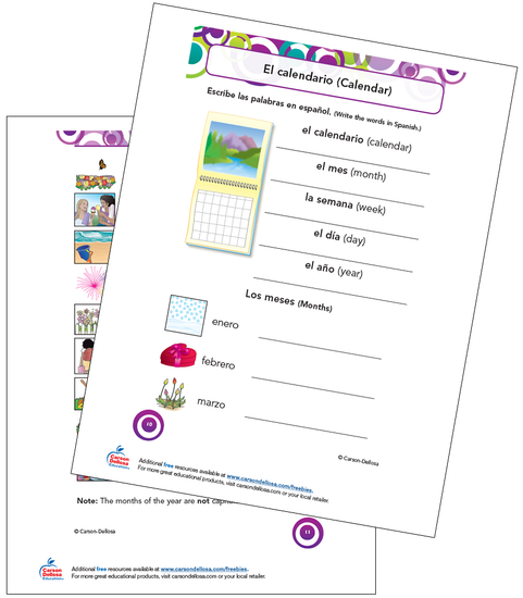 Calendar Vocabulary Spanish Free Printable