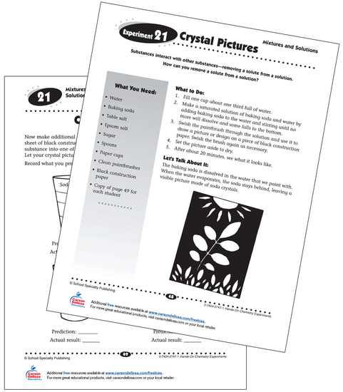 Crystal Pictures Experiment Grades 3-5 Free Printable Activity