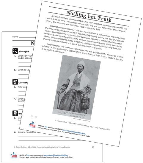 Sojourner Truth (Below Grade Level) Free Printable