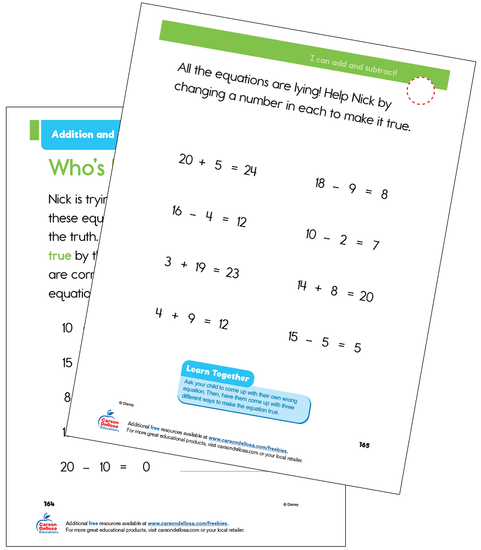 Addition and Subtraction Grade 1 Disney Learning Free Printable