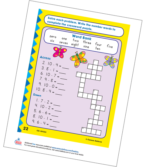Add and Subtract Butterfly Crossword Puzzle Free Printable