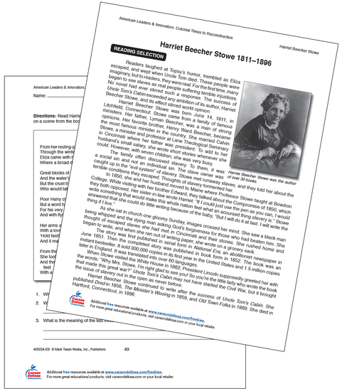 Harriet Beecher Stowe 1811-1896 Free Printable