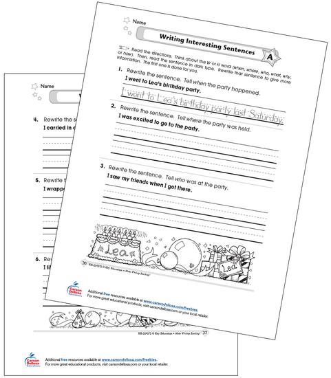 Writing Interesting Sentences Grades 1-2 Free Printable