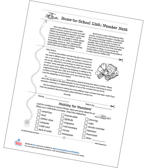 Home-to-School Link: Number Hunt Grades PK-K Free Printable