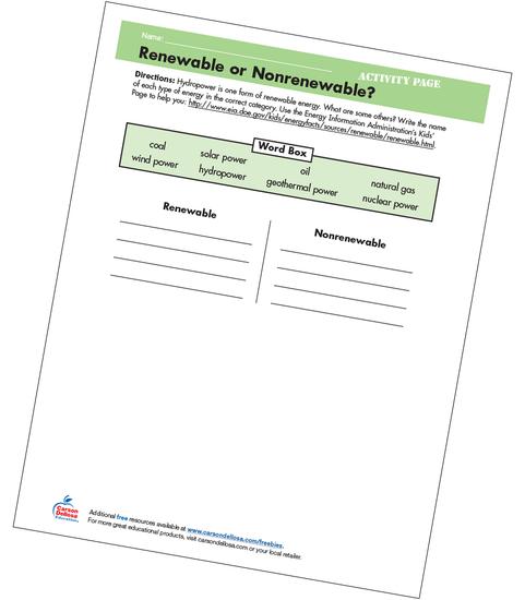 Renewable or Nonrenewable Grades 4-5 Free Printable
