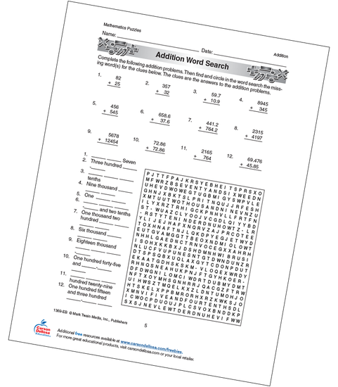 Addition Word Search Grades 4-6 Free Printable