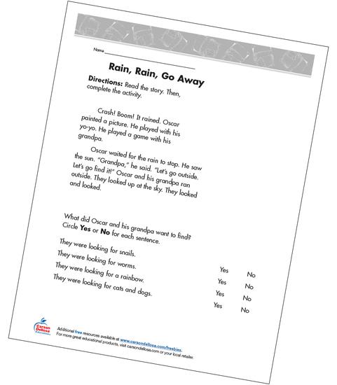 Rain, Rain, Go Away Grade 2 Free Printable