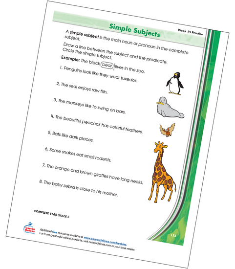 Simple Subjects with Animals Grade 3 Free Printable