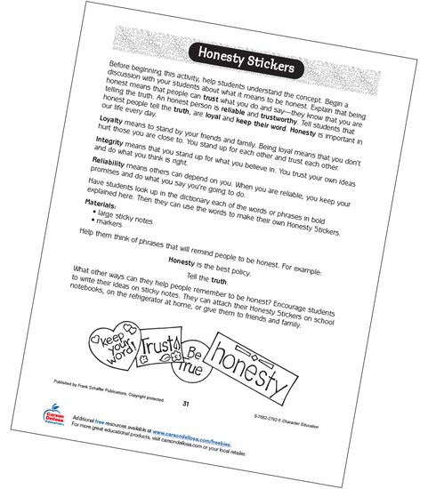 Honesty Stickers Free Activity