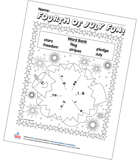 Fourth of July Fun Word Bank  Free Printable