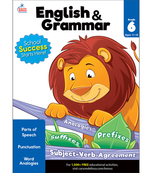 Brighter Child® English & Grammar Workbook, Grade 6 Parent