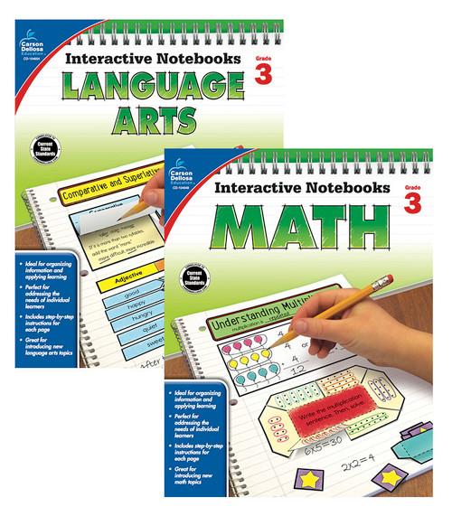 Carson-Dellosa Interactive Notebook Language Arts & Math Bundle Grade 3 Teacher