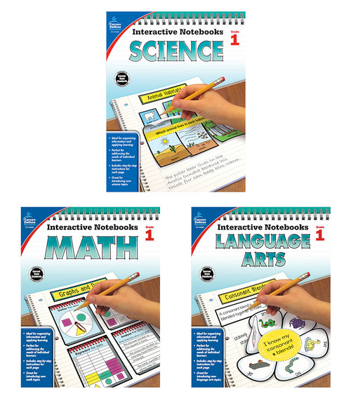 Carson-Dellosa Interactive Notebook Language Arts, Math & Science Bundle Grade 1 Teacher