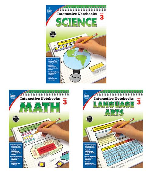 Carson-Dellosa Interactive Notebook Language Arts, Math & Science Bundle Grade 3 Teacher