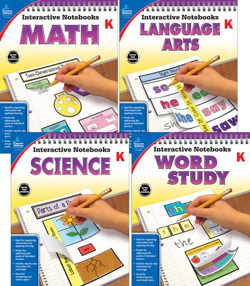 Carson-Dellosa Interactive Notebooks Math, Language Arts, Word Study & Science Bundle Grade K Teacher