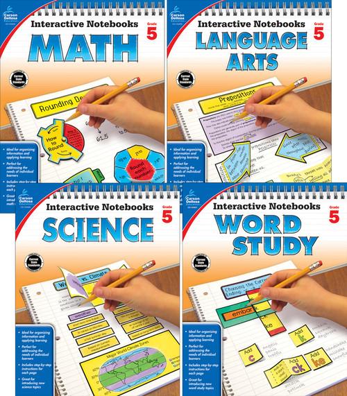 Carson-Dellosa Interactive Notebooks Math, Language Arts, Word Study & Science Bundle Grade 5 Teacher