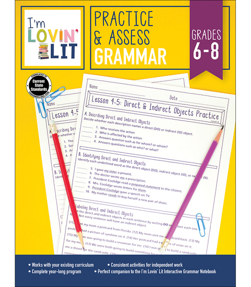 Carson-Dellosa I'm Lovin' Lit Practice & Assess: Grammar, Grades 6 - 8 Teacher