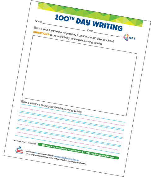 100th Day Writing Prompt Grade 1 Free Printable Sample Image