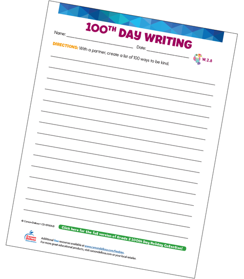 100th Day Writing Prompt Grade 2 Free Printable Sample Image