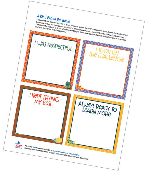 A Kind Pat on the Back!: Nature Explorers Award Certificates Free Printable