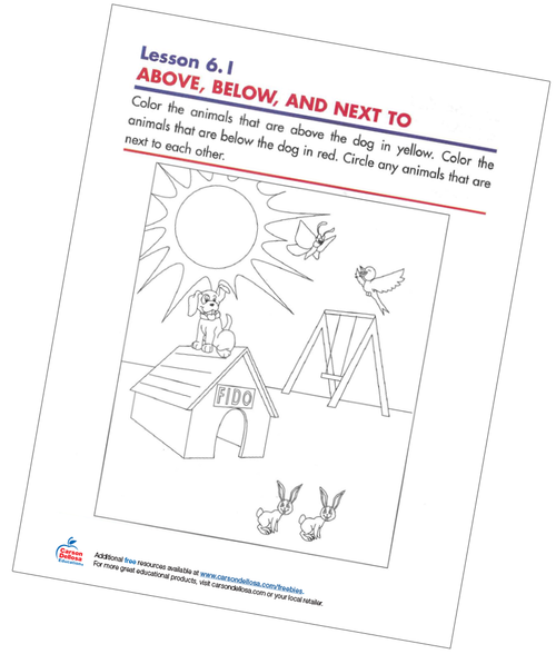 Above, Below, and Next To Free Printable