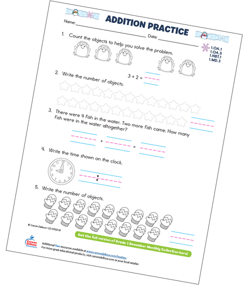 Addition Practice Free Printable Sample Image