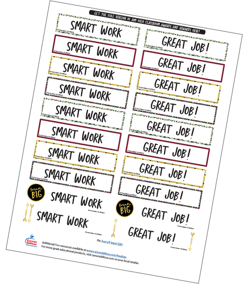Aim High Motivational Word Stickers Free Printable Sample Image