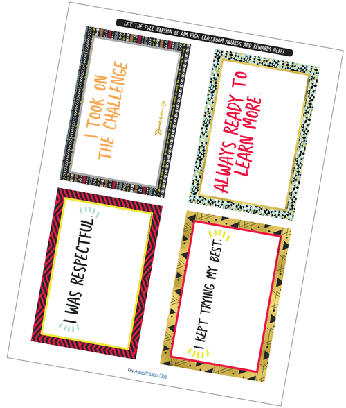 Aim High Quarter Page Certificate Free Printable