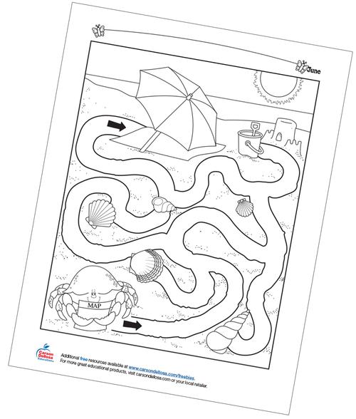 Beach Maze Free Printable