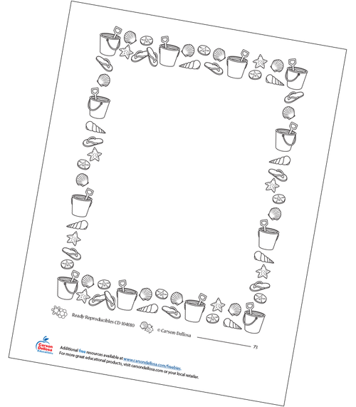 Beach Stationary Frame Free Printable Sample Image