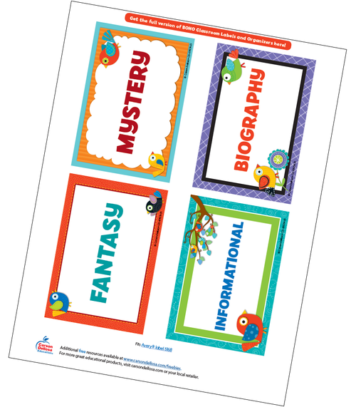 Boho Birds Classroom Library Labels Free Printable