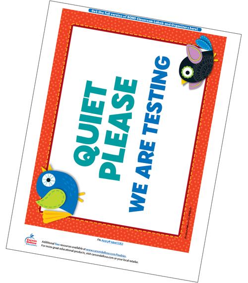 Boho Birds Classroom Testing Sign Free Printable Sample Image