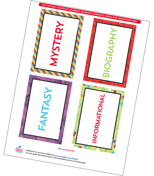 Celebrate Learning Classroom Library Labels Free Printable