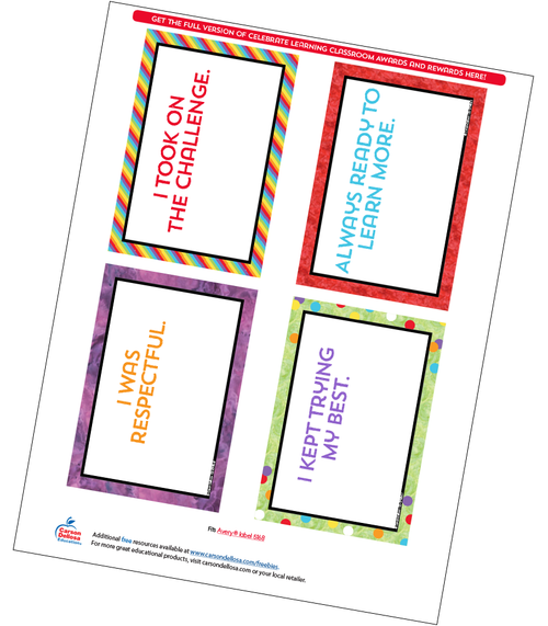 Celebrate Learning Quarter Page Certificate Free Printable Sample Image