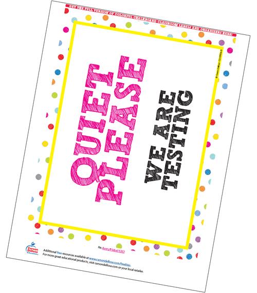 Colorful Chalkboard Classroom Testing Sign Free Printable Sample Image