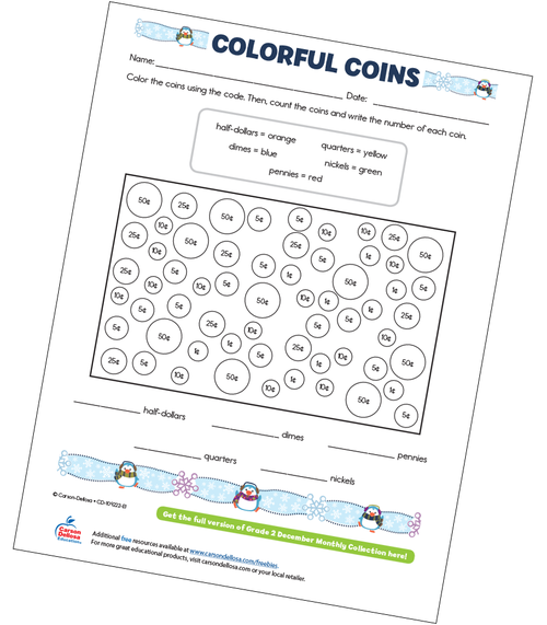 Colorful Coins Free Printable Sample Image