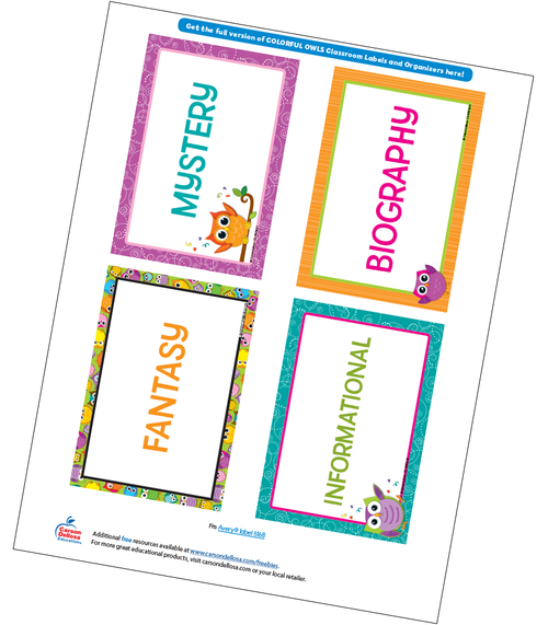 Colorful Owls Classroom Library Labels Free Printable
