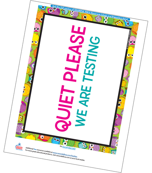 Colorful Owls Classroom Testing Sign Free Printable Sample Image