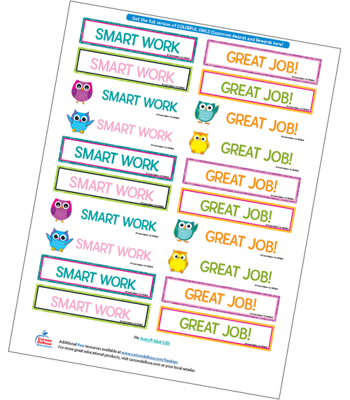 Colorful Owls Motivational Word Stickers Free Printable Sample Image