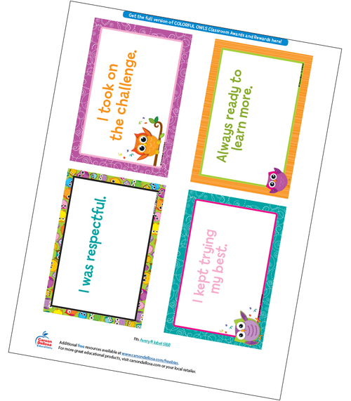 Colorful Owls Quarter Page Certificate Free Printable Sample Image