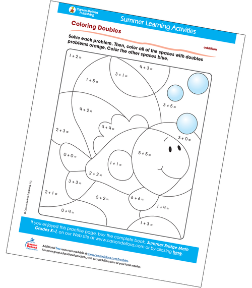 Coloring Doubles Free Printable Sample Image