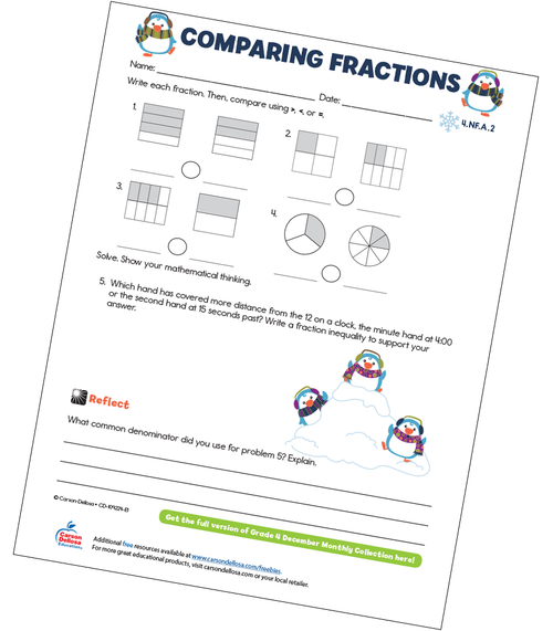 Comparing Fractions Free Printable Sample Image